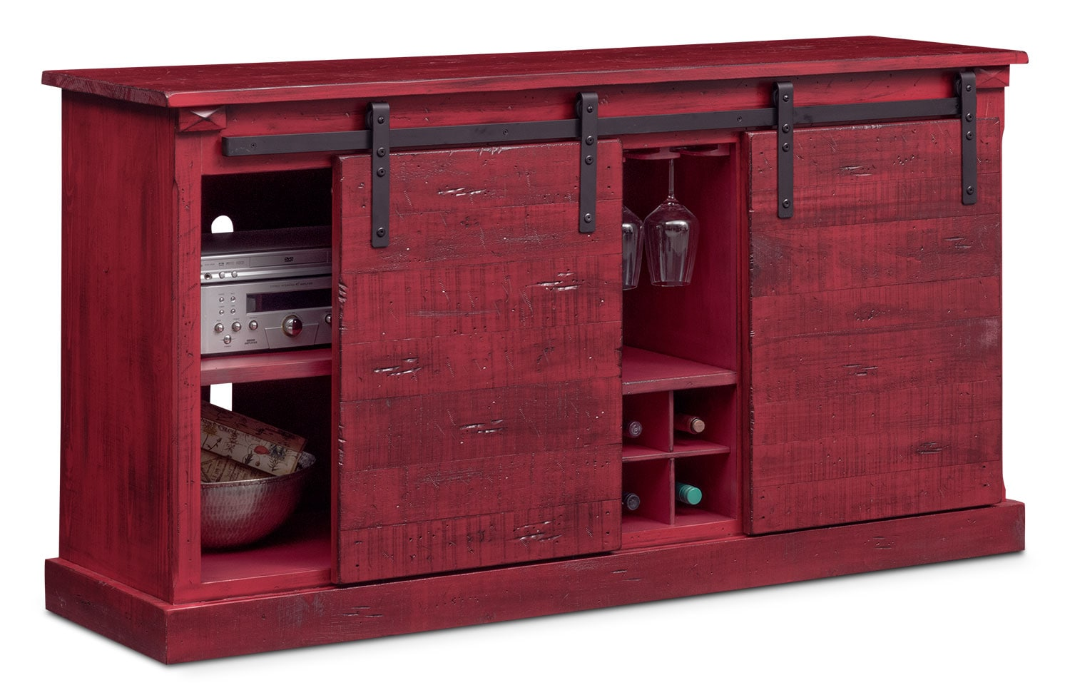 Ashcroft Media Credenza With Wine Storage Red Value