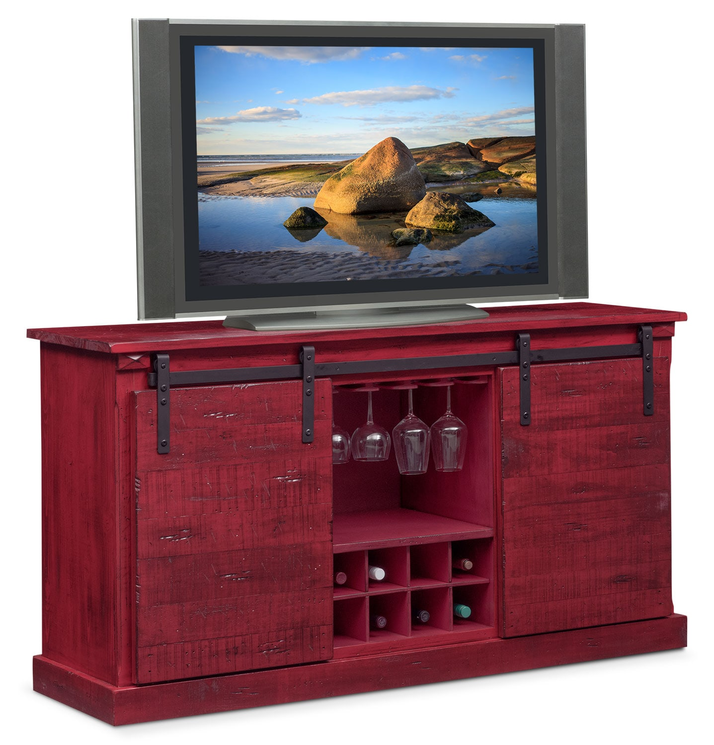 $599.99 Ashcroft Media Credenza With Wine Storage   Red