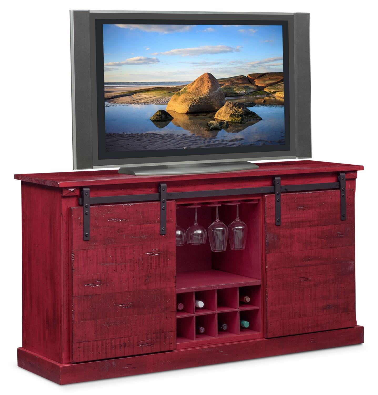 Kitchen island value city furniture - Ashcroft Media Credenza With Wine Storage Red