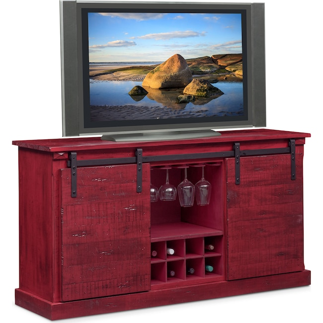 Accent and Occasional Furniture - Ashcroft Media Credenza with Wine Storage - Red