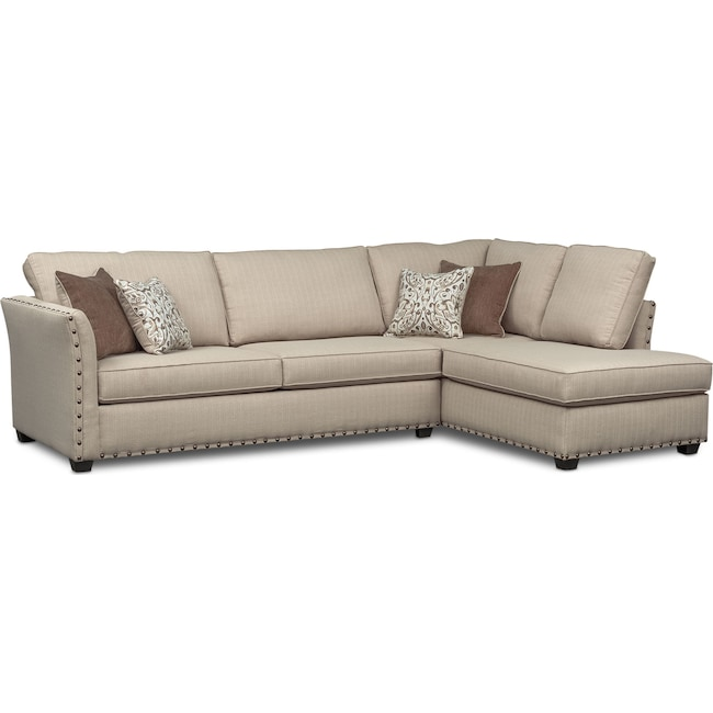 Living Room Furniture - Mckenna 2-Piece Queen Memory Foam Sleeper Sectional - Sand