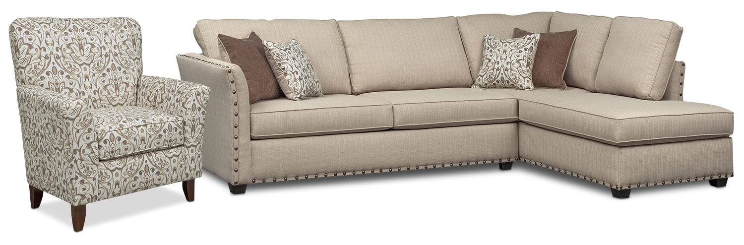Mckenna 2-Piece Queen Innerspring Sleeper Sofa and Accent Chair - Sand