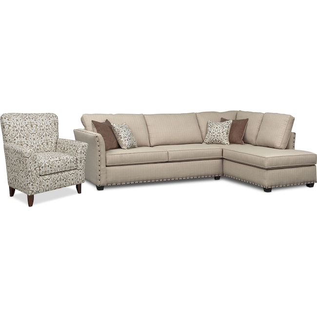 Living Room Furniture - Mckenna 2-Piece Sectional and Accent Chair - Sand