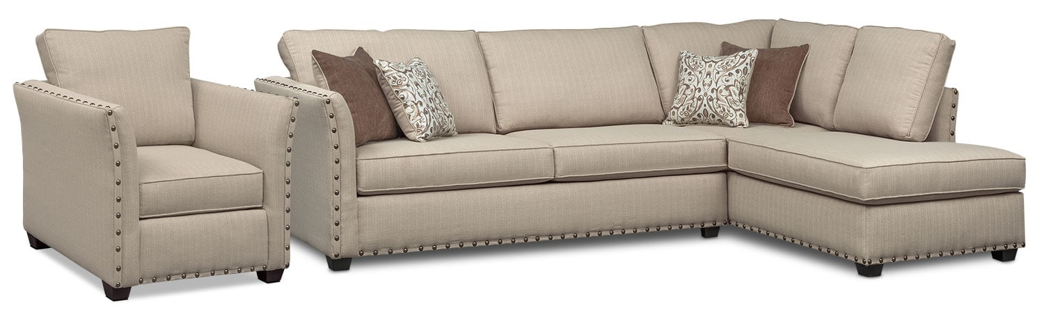 Living Room Furniture - Mckenna 2-Piece Queen Memory Foam Sleeper Sectional and Chair - Sand