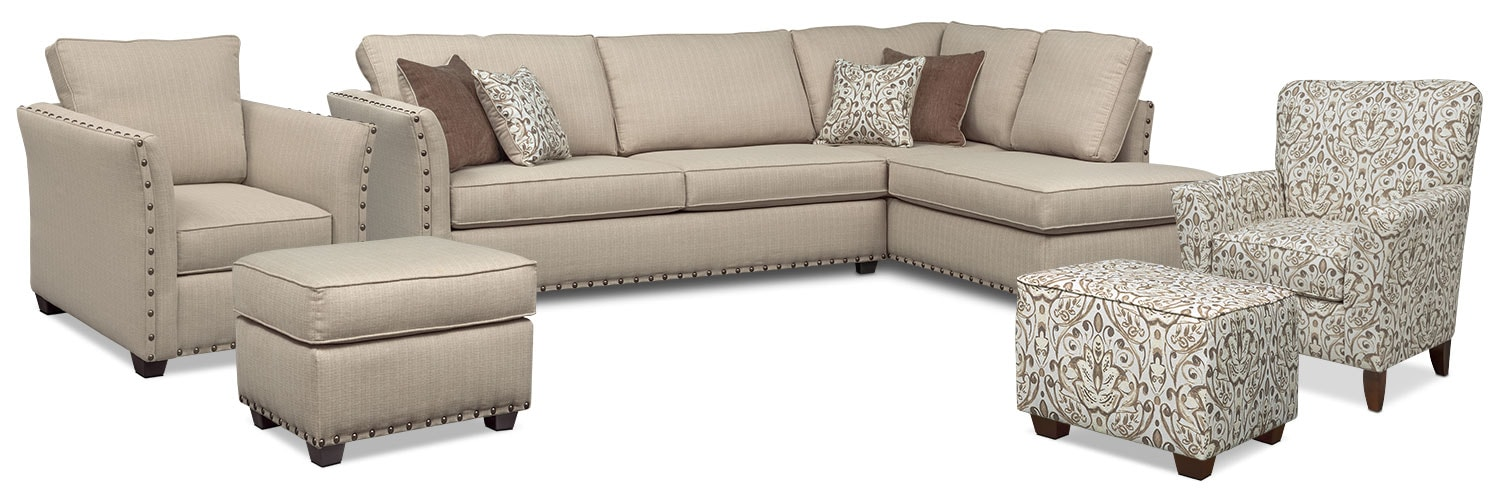 The Mckenna Sleeper Sectional Collection - Sand