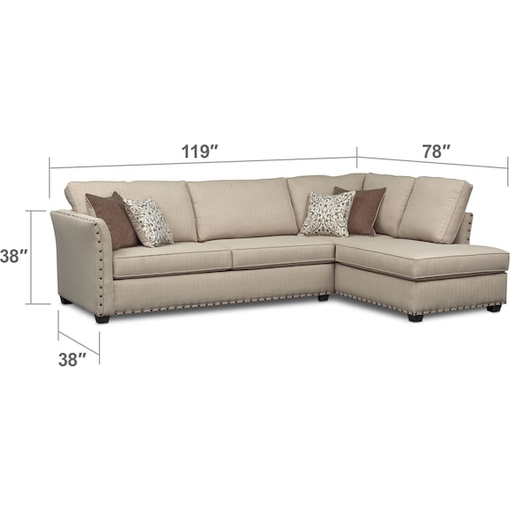 Living Room Furniture - Mckenna 2-Piece Queen Innerspring Sleeper Sectional - Sand