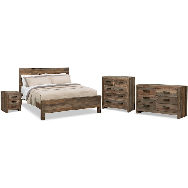 Bedroom Furniture Rancho 6 Piece Queen Bedroom Set Pine