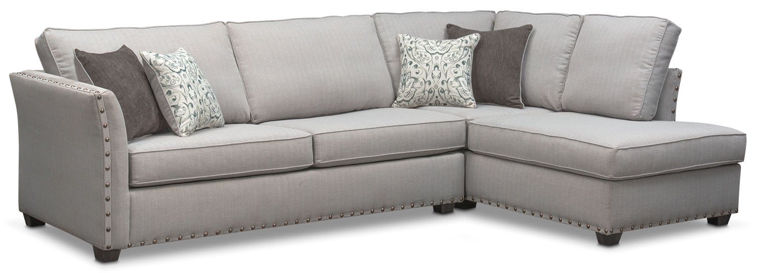 Living Room Furniture   Mckenna 2 Piece Queen Memory Foam Sleeper Sectional    Pewter