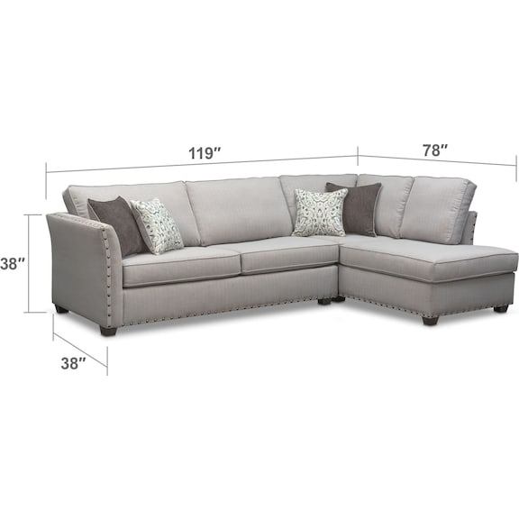 Living Room Furniture - Mckenna 2-Piece Queen Sleeper Sectional
