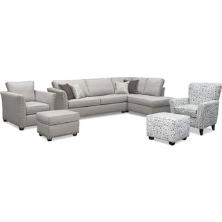 The Mckenna Sleeper Sectional Collection - Pewter