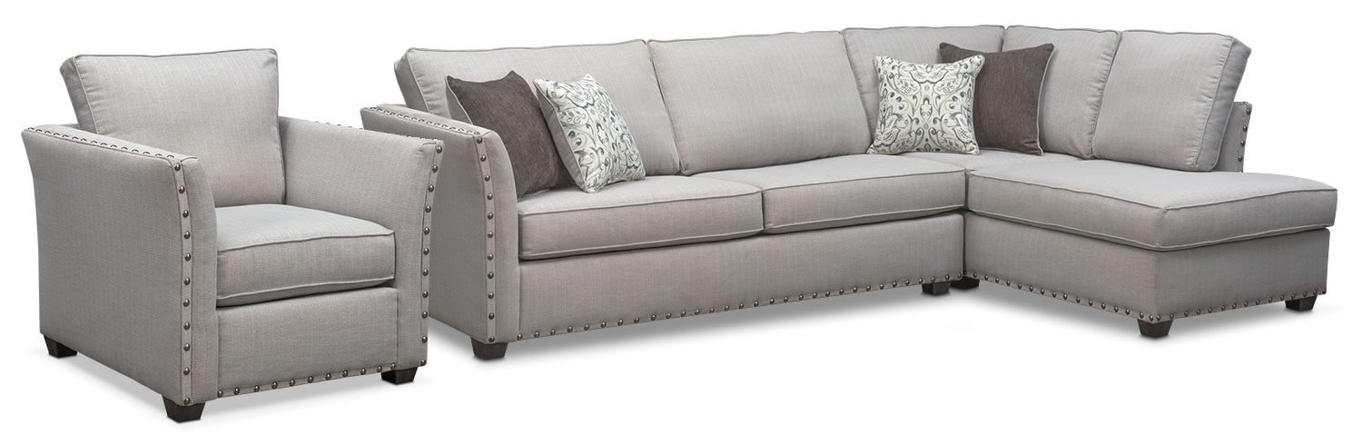 Living Room Furniture - Mckenna 2-Piece Sectional and Chair - Pewter