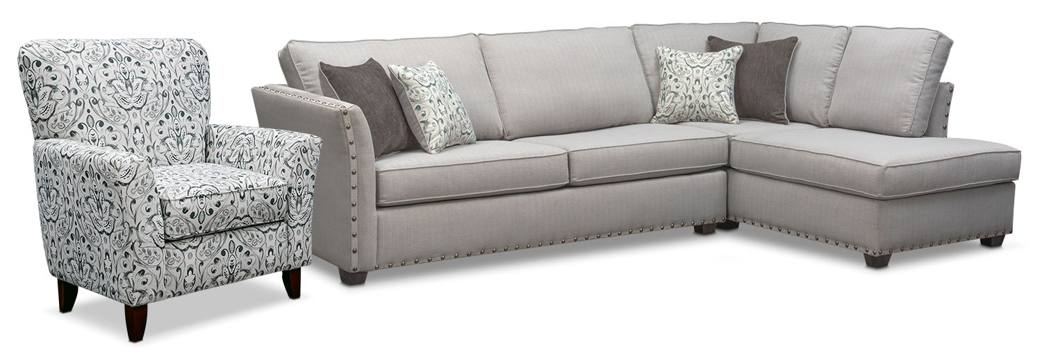 Living Room Furniture - Mckenna 2-Piece Sectional and Accent Chair - Pewter