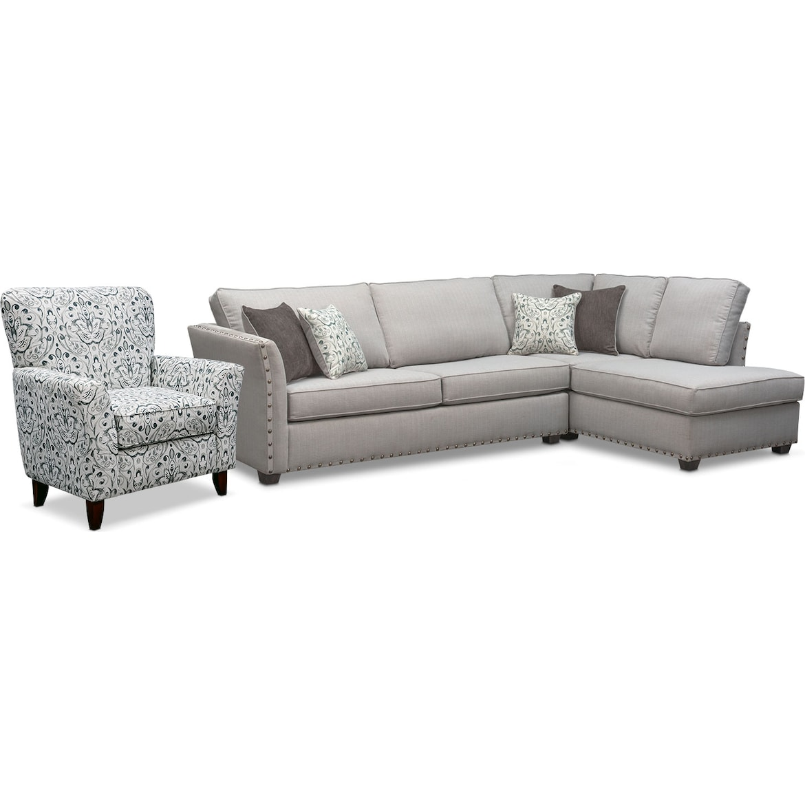 Set Of 2 Living Room Accent Chairs.Mckenna 2 Piece Sleeper Sectional And Accent Chair Set