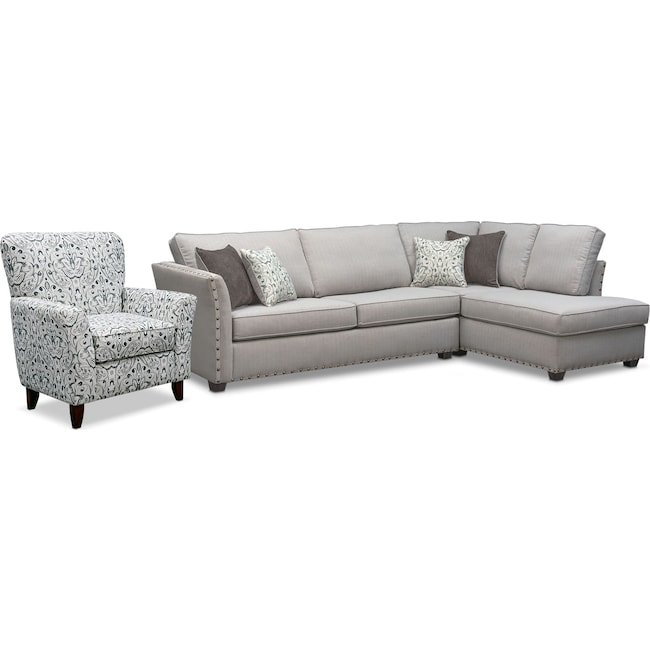 Living Room Furniture - Mckenna 2-Piece Queen Memory Foam Sleeper Sectional and Accent Chair - Pewter