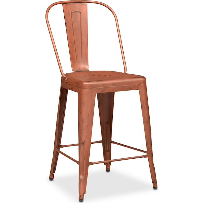 Dining Room Furniture - Olin Splat-Back Barstool - Orange