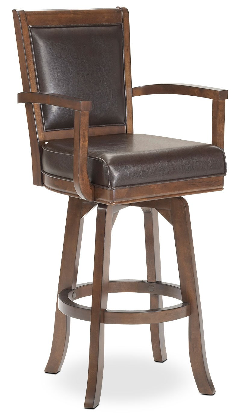 Accent and Occasional Furniture - Ambassador Swivel Counter-Height Stool - Cherry