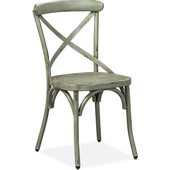 Dining Room Furniture - Saxon X-Back Side Chair - Green