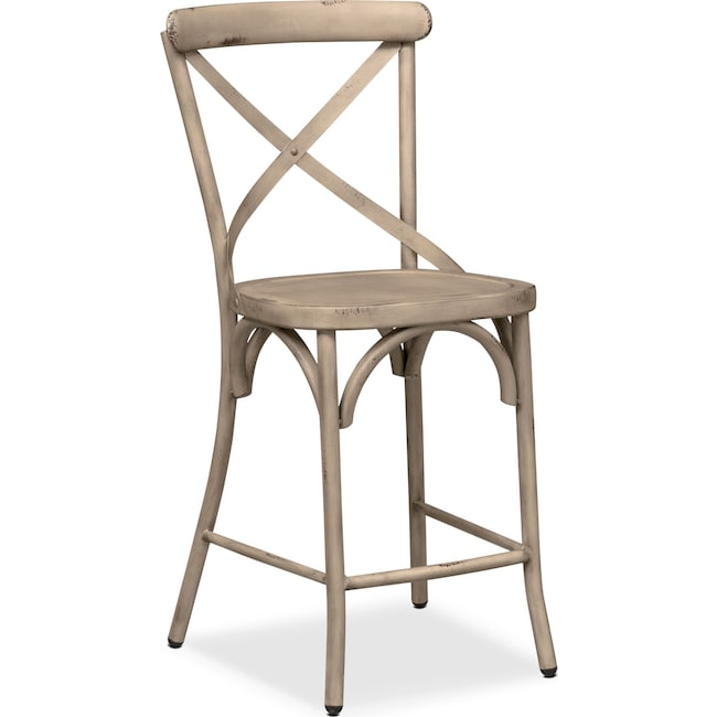 Dining Room Furniture - Saxon X-Back Barstool - Ivory