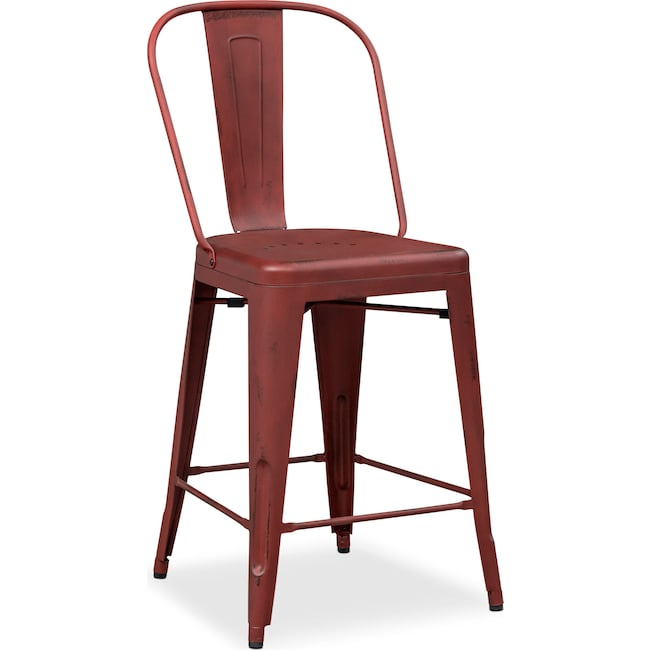 Dining Room Furniture - Olin Splat-Back Counter-Height Stool - Red