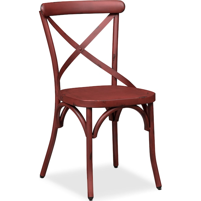 Dining Room Furniture - Saxon X-Back Side Chair - Red