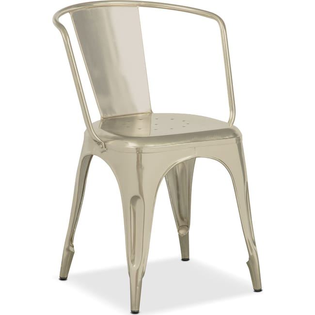 Dining Room Furniture - Holden Splat-Back Arm Chair - Nickel