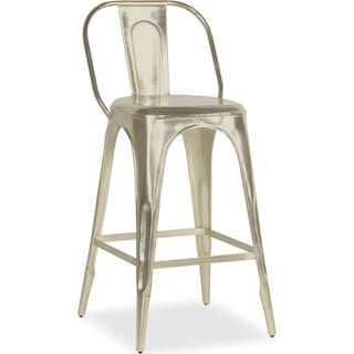 Holden Splat-Back Barstool - Nickel