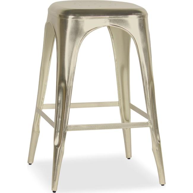 Dining Room Furniture - Holden Backless Barstool - Nickel