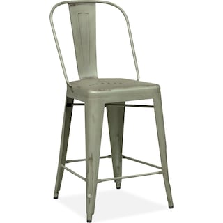 Olin Splat-Back Barstool - Green