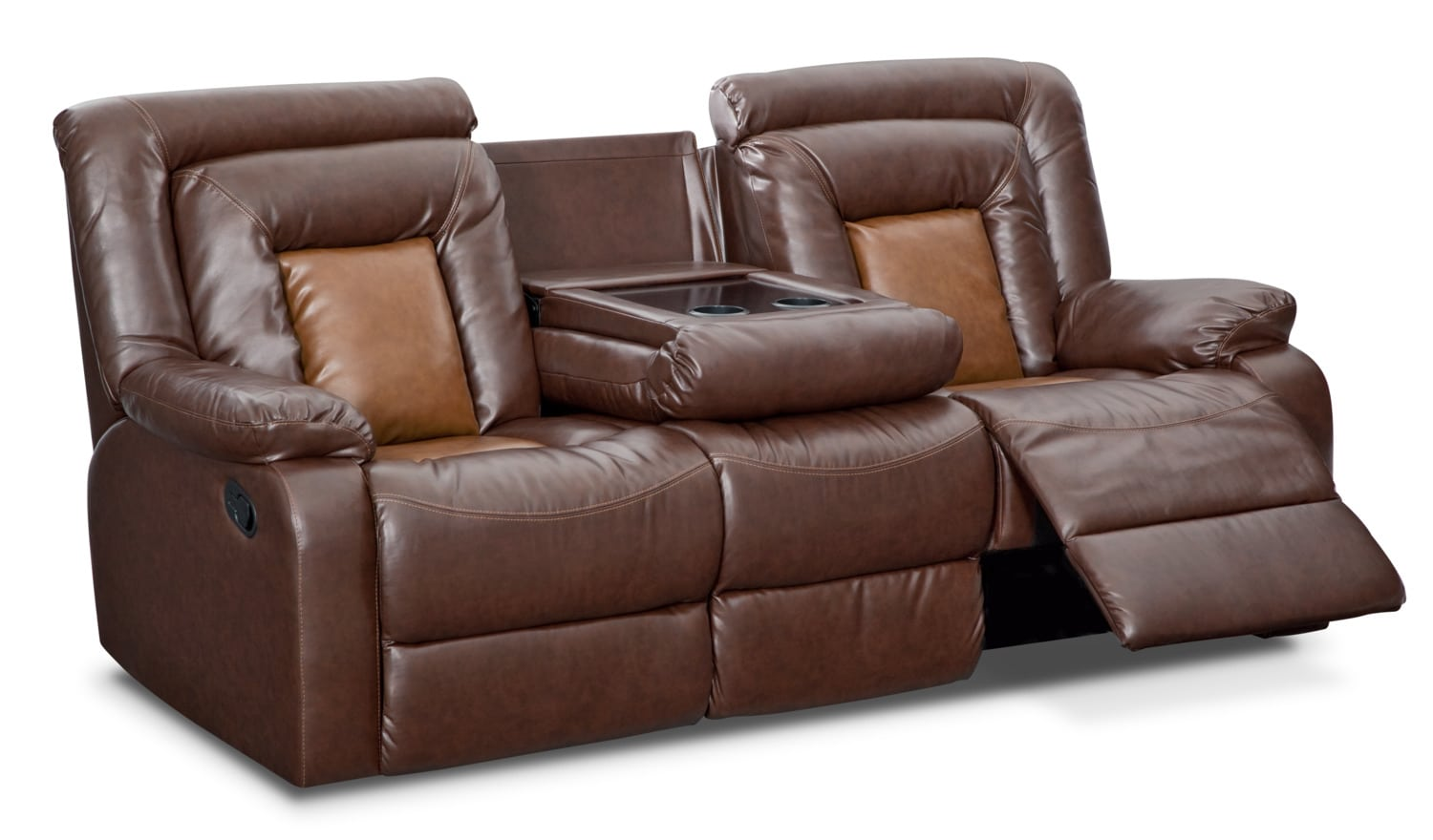 mustang dual reclining sofa with console brown value city rh valuecityfurniture com reclining sofa with console reclining sofa with console