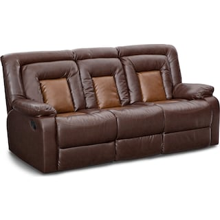 Mustang Dual-Reclining Sofa with Console - Brown