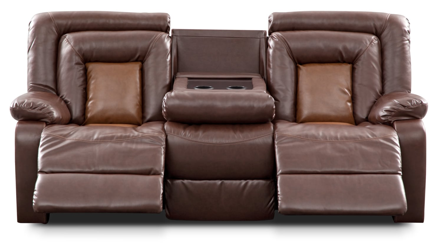 Click to change image.  sc 1 st  Value City Furniture & Mustang Dual-Reclining Sofa with Console - Brown | Value City ... islam-shia.org