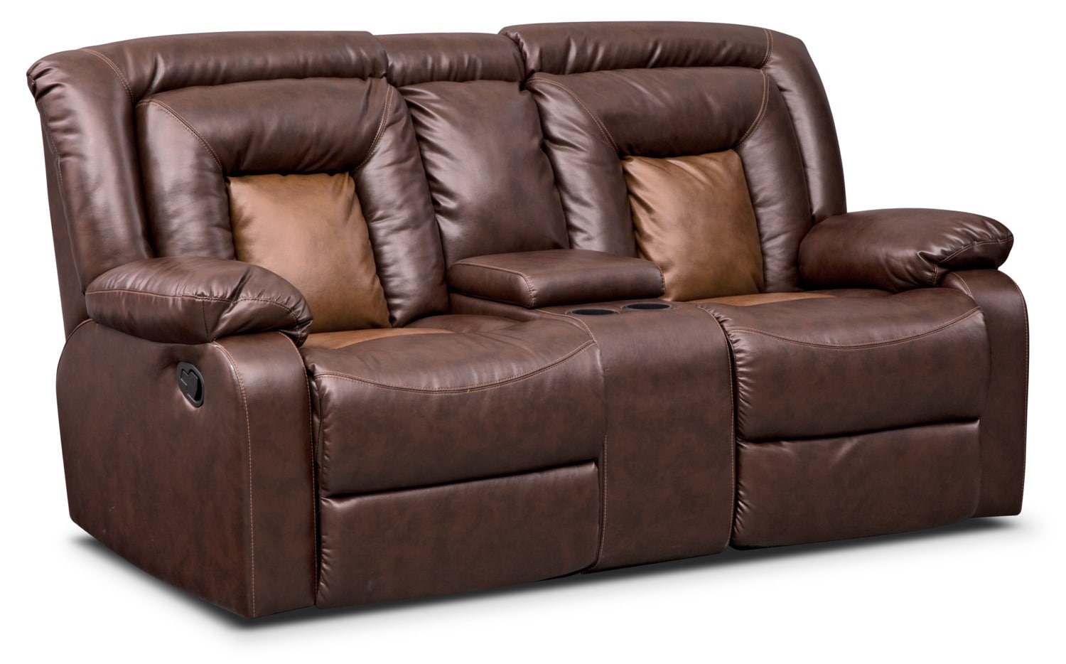 Living Room Furniture - Mustang Dual-Reclining Loveseat with Console - Brown