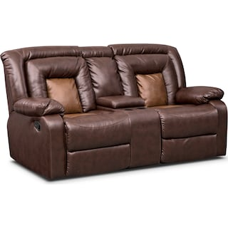 Mustang Dual-Reclining Loveseat with Console - Brown