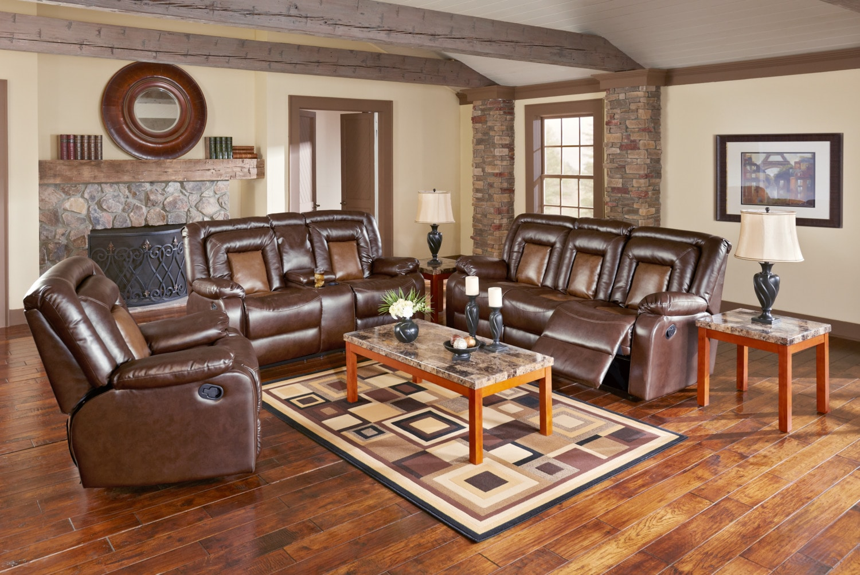 Living Room Furniture - Mustang Dual-Reclining Sofa, Dual-Reclining Loveseat and Recliner Set - Brown