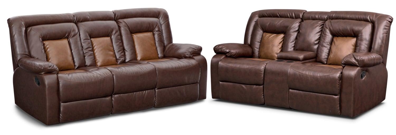 Living Room Furniture - Mustang Dual-Reclining Sofa and Dual-Reclining Loveseat Set - Brown