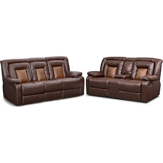 Mustang Dual Reclining Sofa And Loveseat Set