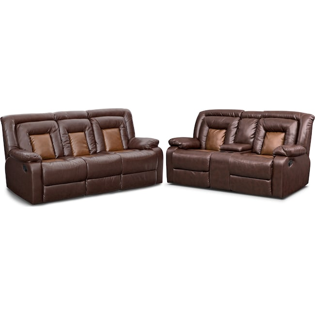 Living Room Furniture - Mustang Dual-Reclining Sofa and Dual-Reclining Loveseat Set - Brown