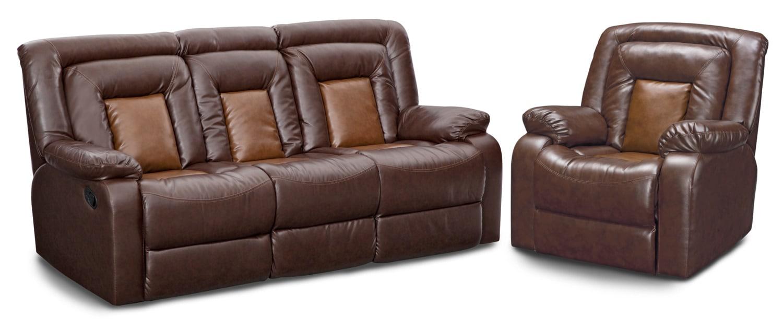Mustang Dual Reclining Sofa And Recliner Set Brown
