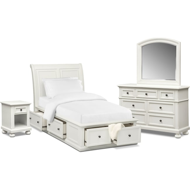 Bedroom Furniture - Hanover Youth 6-Piece Twin Sleigh Bedroom Set with Storage - White