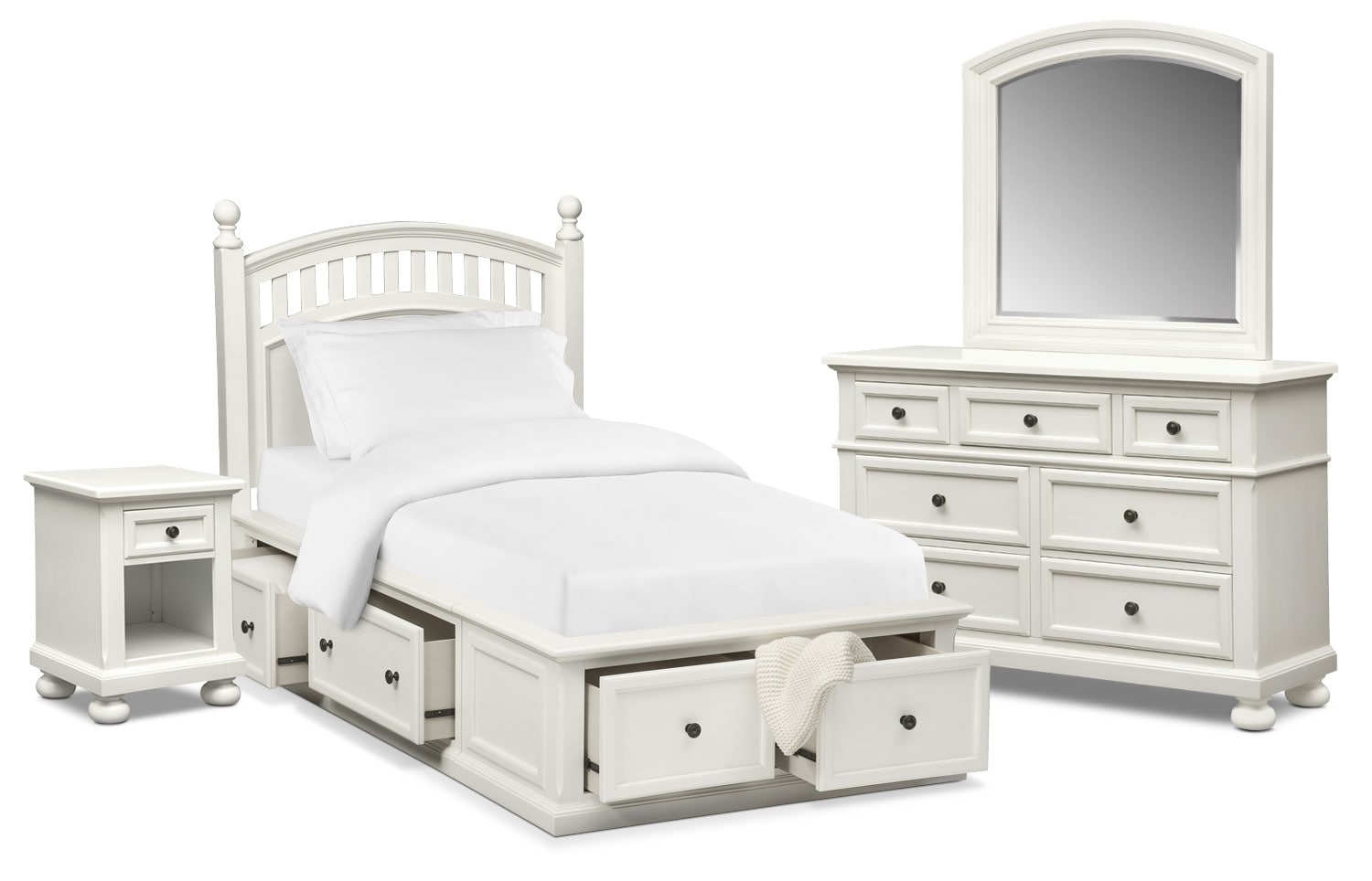Bedroom Furniture - Hanover Youth 6-Piece Full Poster Bedroom Set with Storage - White