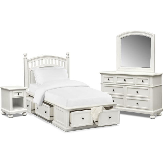 Kids Furniture - Hanover Youth 6-Piece Full Poster Bedroom Set with Storage - White