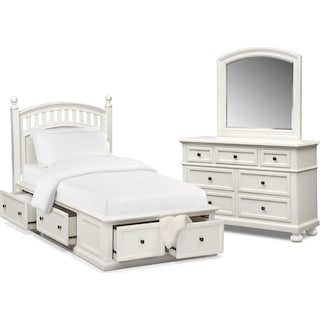 Hanover Youth 5-Piece Twin Poster Bedroom Set with Storage - White