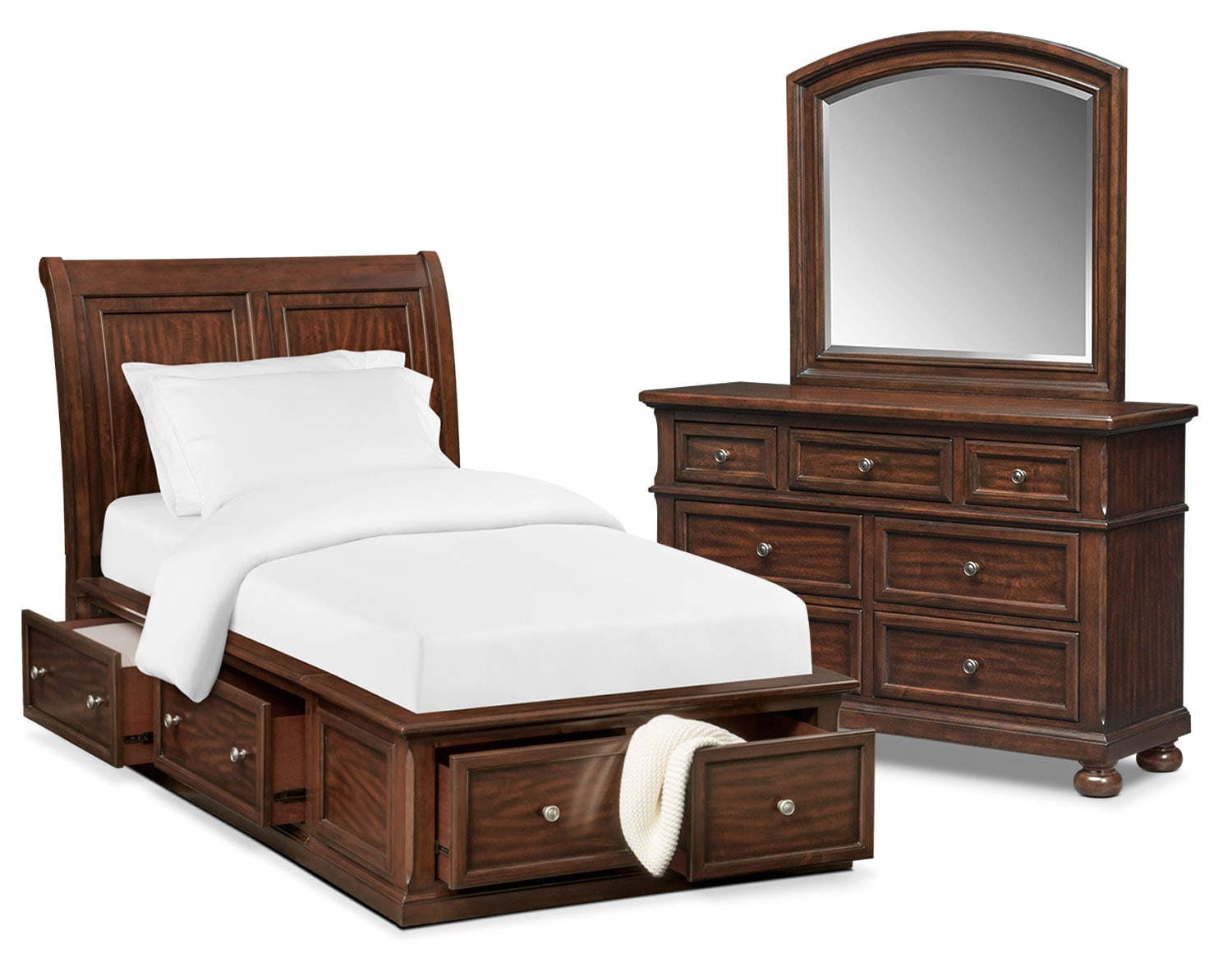 Bedroom Furniture - Hanover Youth 5-Piece Full Sleigh Bedroom Set with Storage - Cherry