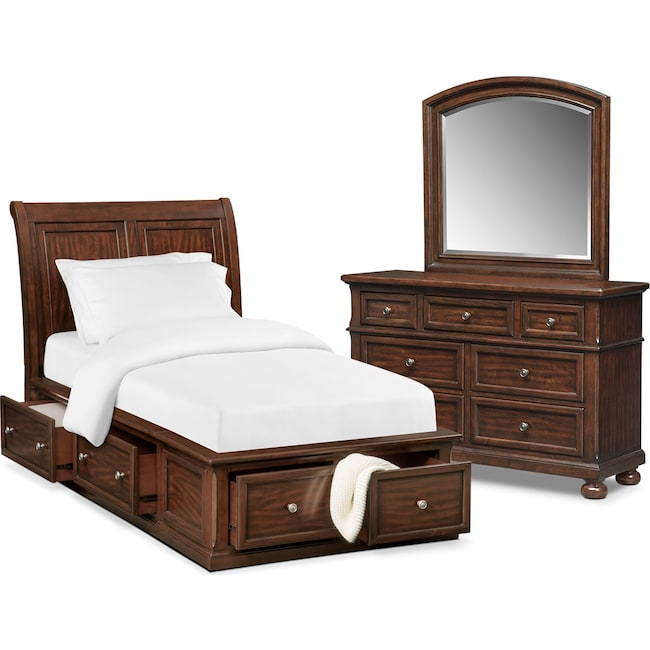 Bedroom Furniture - Hanover Youth 5-Piece Sleigh Storage Bedroom Set with Dresser and Mirror