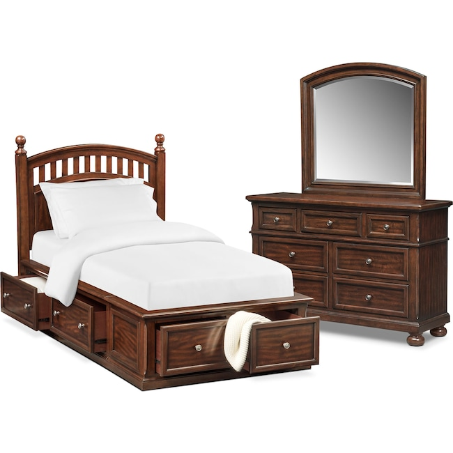 Bedroom Furniture - Hanover Youth 5-Piece Poster Bedroom Set with Storage Dresser and Mirror