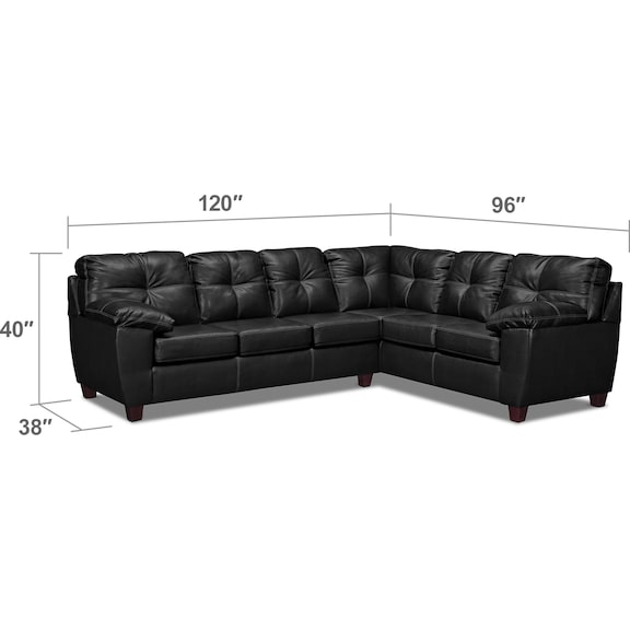 Living Room Furniture - Ricardo 2-Piece Innerspring Sleeper Sectional with Right-Facing Sofa - Onyx