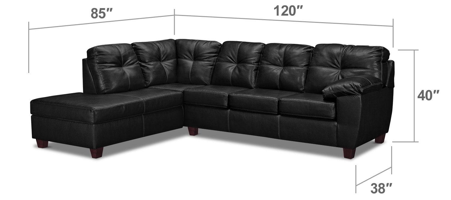 Living Room Furniture - Rialto 2-Piece Sectional with Left-Facing Chaise - Onyx