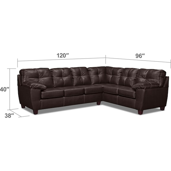 Living Room Furniture - Ricardo 2-Piece Innerspring Sleeper Sectional with Right-Facing Sofa - Brown