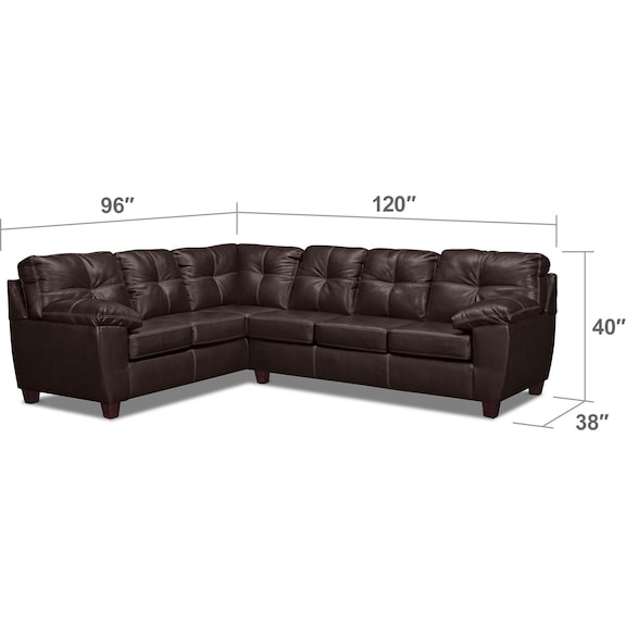 Living Room Furniture - Ricardo 2-Piece Innerspring Sleeper Sectional with Left-Facing Sofa - Brown