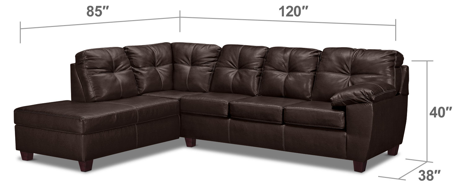 Living Room Furniture - Rialto 2-Piece Sectional with Left-Facing Chaise - Brown